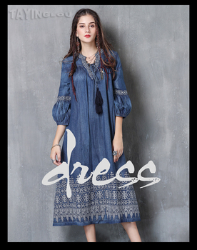 Women Denim Dress 2017 TaYingLou Boho Cotton Embroidery Dresses Vintage V-Neck Lantern Sleeve Vestidos A82053 Female Vestido JPEG