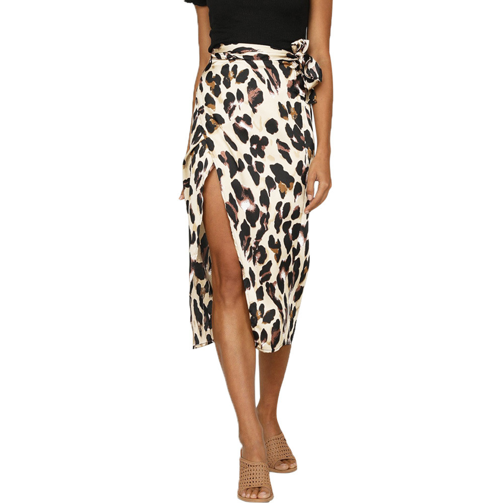 Women'S Summer Straight Skirt England Style Leopard High Waist Line  Ankle-Length Design Comfortable Trend New Product 2020*