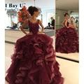 IBayU Borgonha Vestidos Quinceanera Vestidos De 15 Años Plus Size Vestidos Quinceanera Vestidos De Debutante Doce 16 Plissado Vermelho