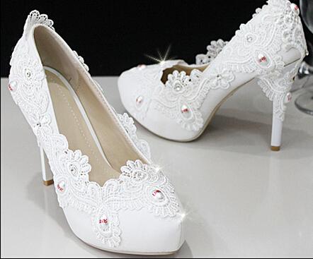 Crystal shoes wedding shoes pearl bridal shoes rhinestone lace handmade female wedding white high-heeled