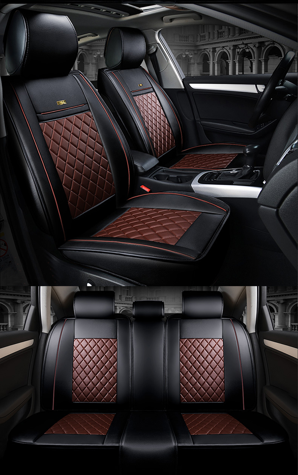 Front Rear Luxury Leather Car Seat Covers For Bmw E30 E34 E36 E39 E46 E60 F10 F30 X3 X5 X6 Car Accessories Auto Styling Seat Cover Set Seat Cover Set For