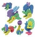 2016 nova educacional diy handmade eco friendly animal 3d puzzle brinquedos para crianças dos desenhos animados aleatória