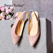 BeauToday Sandals Women Kid Suede Pointed Toe Elastic Band Shallow Med Heel Genuine Leather Lady Summer Shoes Handmade 31039