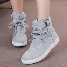 35-41 Black Gray Round Toe Platform Casual High-top Canvas Shoes Woman Lace Up Shoes Student Flat Ankle Boots Botas Mujer