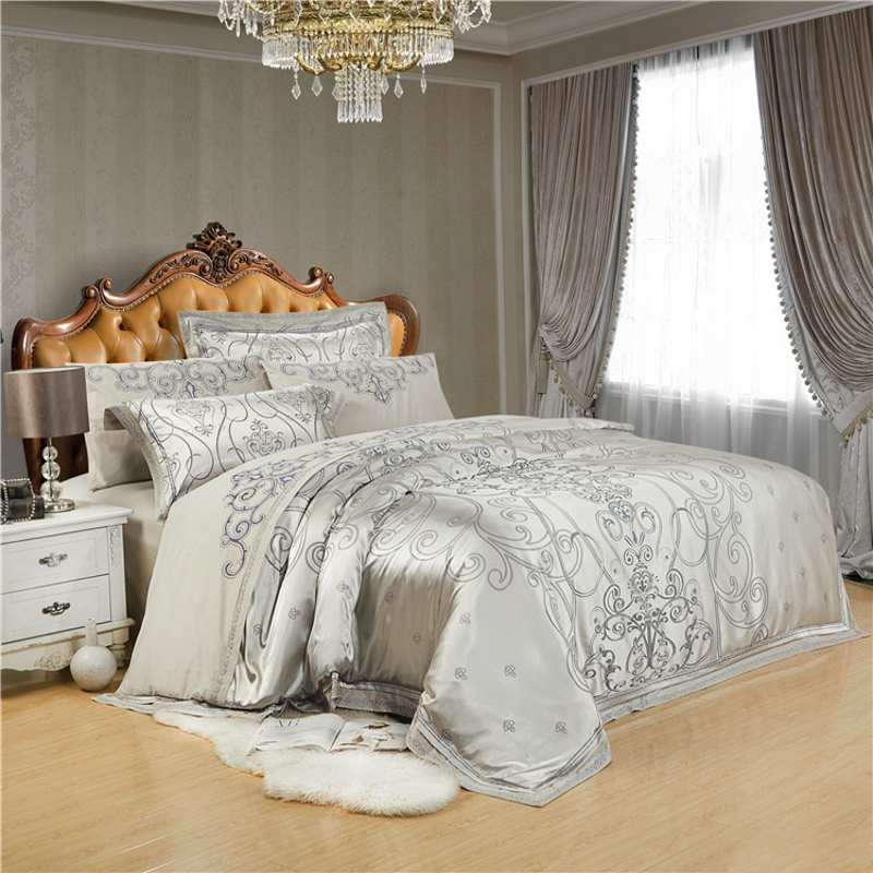 buy gray embroidery satin silk jacquard bedding set home textile 4pcs luxury. Black Bedroom Furniture Sets. Home Design Ideas