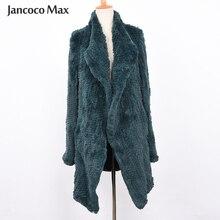Для женщин с натуральным кроличьим мехом вязаное зимнее теплое пальто с натуральным мехом, верхняя одежда, куртка, Изготовленная с применением техники Открытый шов S7317