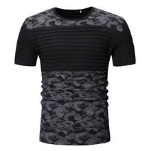 New Men Army Green T-Shirt Summer Slim Pleated Military Camouflage Cotton tshirt Short Sleeve Fitness Casual For Male T-shirt цены