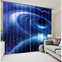 Space planet spacecraft digital 3D printing fabric blackout curtains
