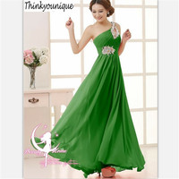 2014 Free Shipping One Shoulder Bead Homecoming Party Ball Gowns Formal Long Evening Dresses Vestidos De