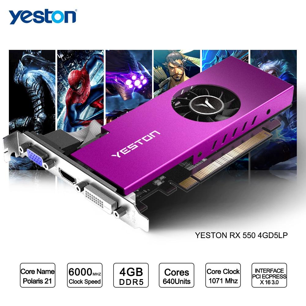 Yeston Radeon mini RX 550 GPU 4GB GDDR5 128bit Gaming Desktop computer PC Video Graphics Cards