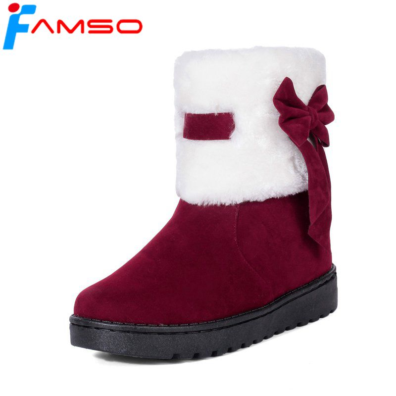 FAMSO 2018 Shoes Women Boots Mid-Calf Riding Boots black red Short Fur Russia Keep Warm Snow boots Outdoor Shoe SBT3545