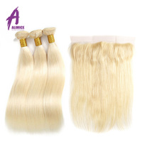 Alimice 613 Blonde Straight Brazilian Hair Weave Human Hair Bundles With Closure 3 Bundles Remy Hair With Lace Frontal Closure