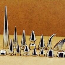 Серебряные панк заклепки-шипы шпильки с винтами для сумки, шляпы, обуви, кожаный чокер diy аксессуар для рукоделия