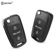 Сменный Автомобильный складной ключ KEYYOU с 3 кнопками, пустой корпус дистанционного управления для Hyundai Solaris