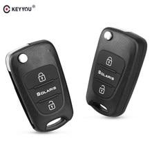 Keyyou 3 botões de substituição para carro, controle de chave dobrável carcaça remota automotiva para hyundai solaris