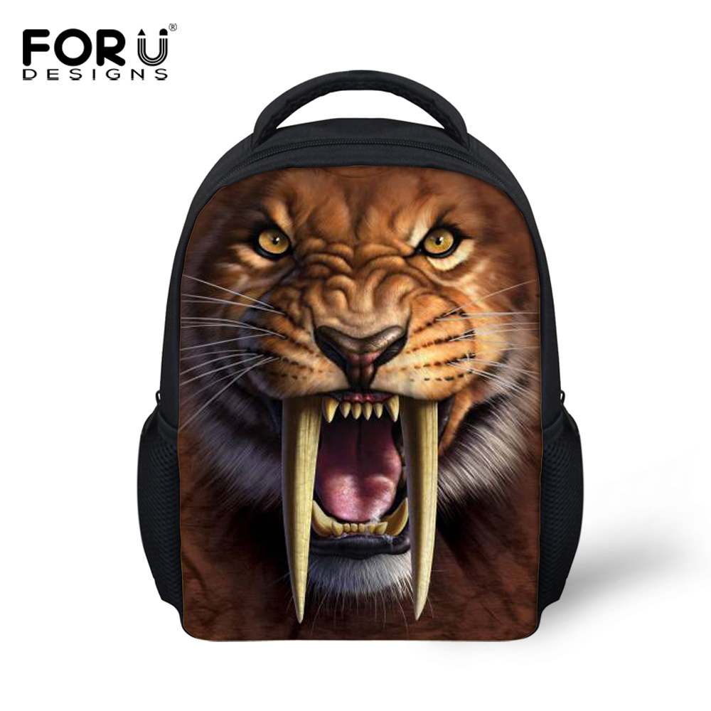 12 Inch Small Kids Animal Smilodon Backpack,Cool Boys Saber-Toothed Tiger Printing Backpacks,Children Mini School Bags Bag - FORUDESIGNS Stylish Apparel Store store