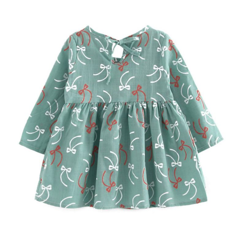 2017 New Cute Spring Autumn Long Sleeve Bow Princess Dress Casual Floral Printed Baby Girls Dresses Tutu Vestidos hot sale girls long sleeve dress cute rabbit and flowers printed 2017 winter autumn baby girl dresses princess vestidos yy2234