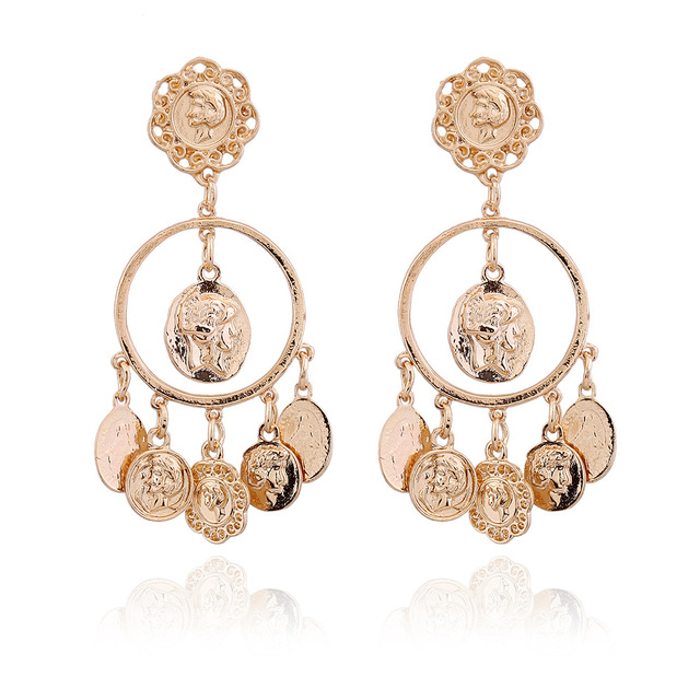 Alloy Gold Color Coins Drop Earring Baroque Portrait Of Relief Brincos Statement Earrings Penntes Piercing Round