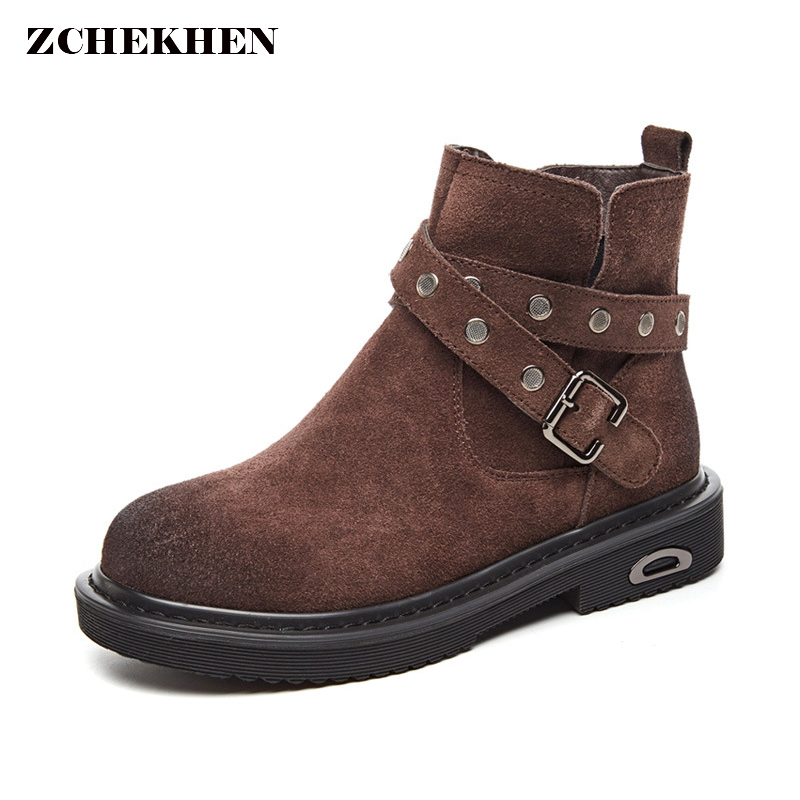 2018 Retro buckle Genuine Leather Women chelsea Boots Martin boots High Top Motorcycle Autumn Winter shoes woman snow Boots women martin boots 2017 autumn winter punk style shoes female genuine leather rivet retro black buckle motorcycle ankle booties