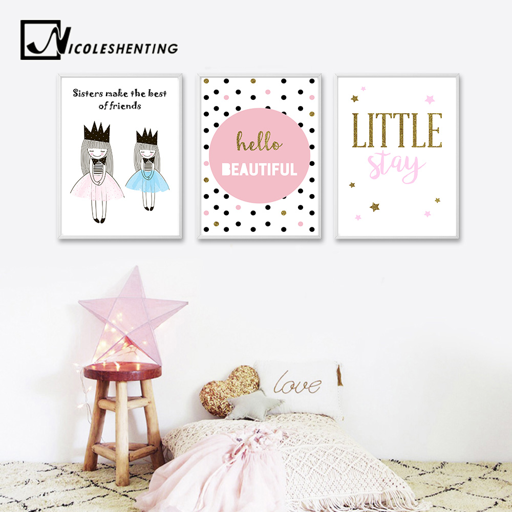 Kawaii Cartoon Girl Nursery Quote Wall Art Canvas Posters and Prints Nordic Style Painting Picture Girl Baby Bedroom Decoration