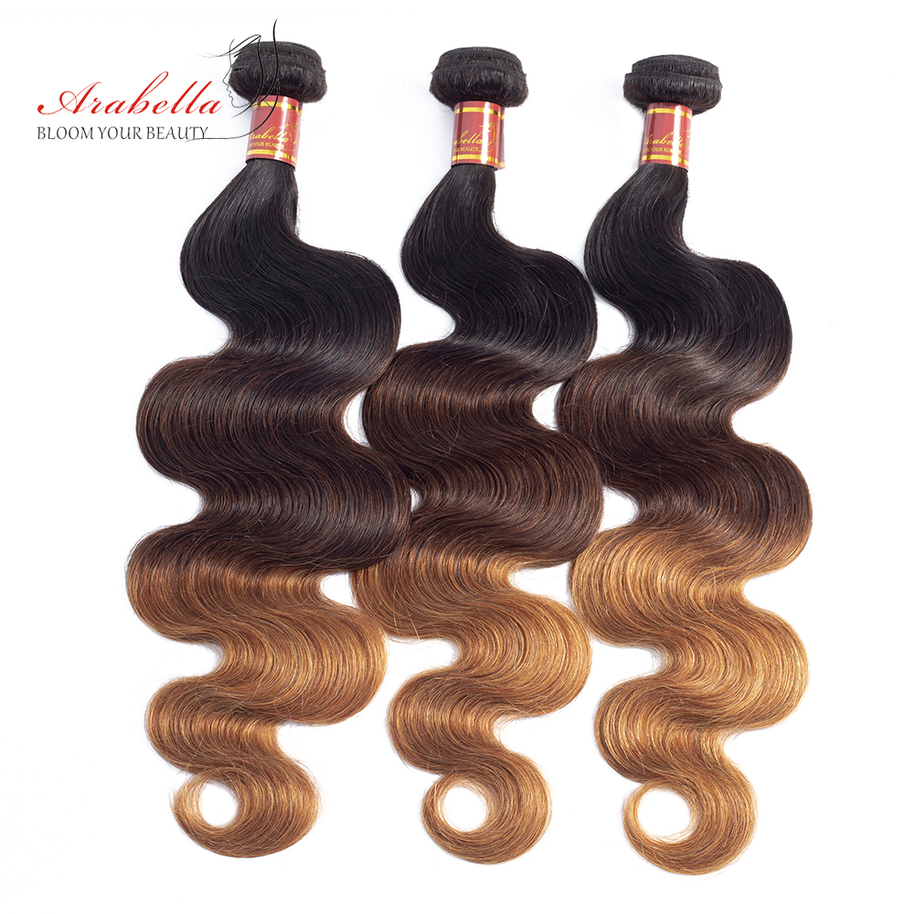 1B/4/27 Ombre   Bundles With Closure Arabella Body Wave 100%  Hair  With Closure Free/Three Parts 3