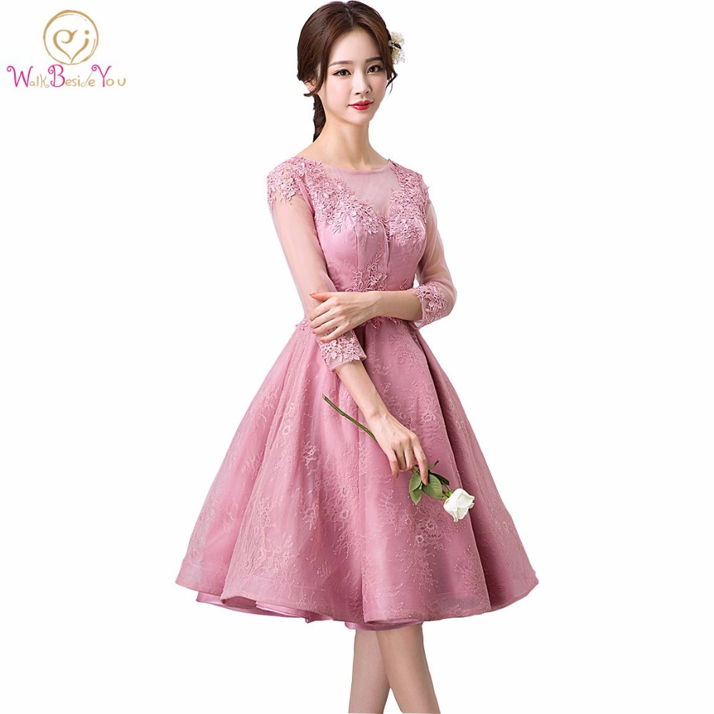 vestido de noche corto Sleeves Short Evening Dress Pink Lace Prom ...