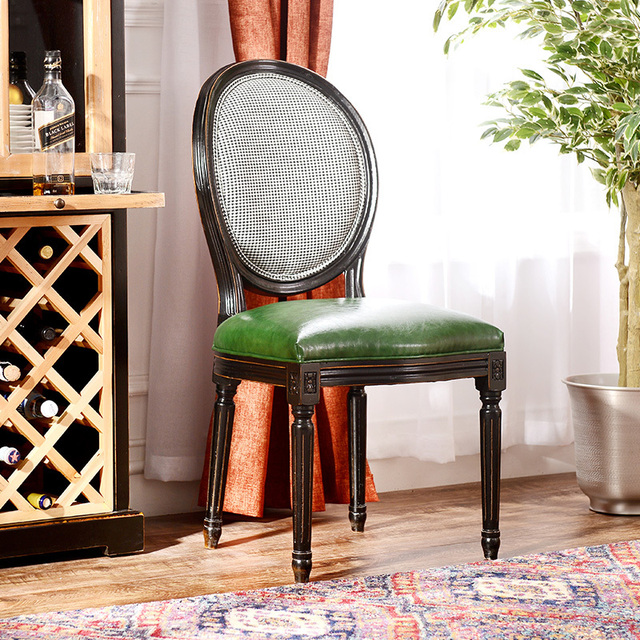 Small British Style Wood Furniture Sidi Plaid Green Leather Dining Chairs  Chairs Desk Chair Qa