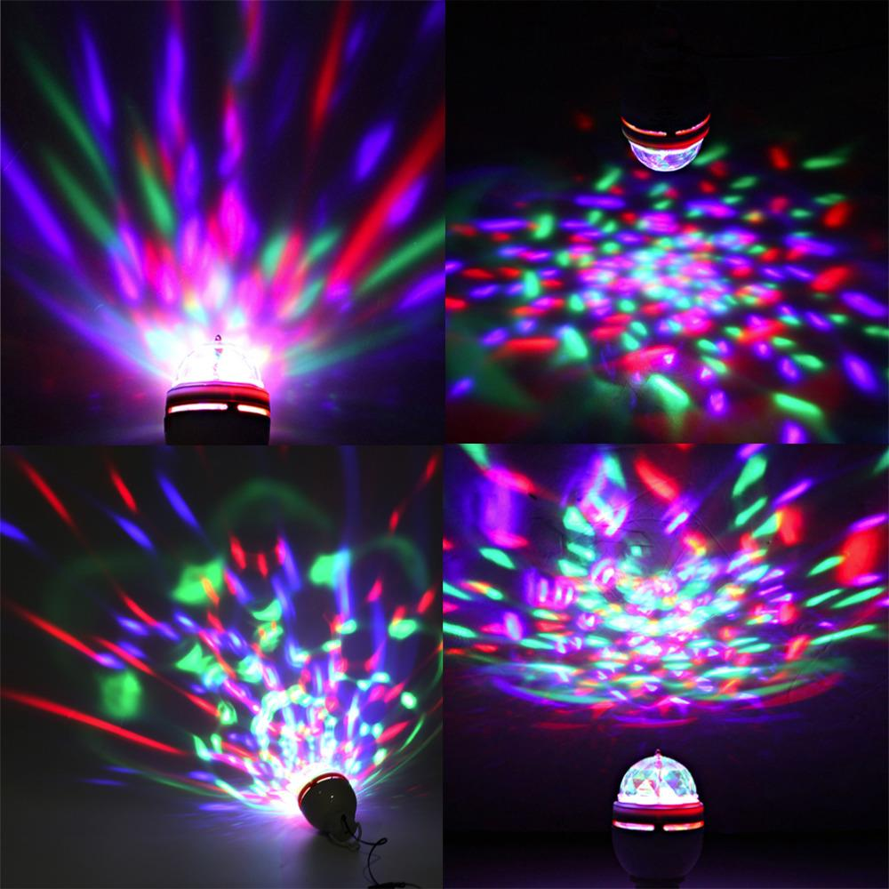 Full Color 3W LED Portable Disco DJ Party Crystal Stage Light Auto Rotating led Bulb Lamp with USB Interface Party Bar Festival