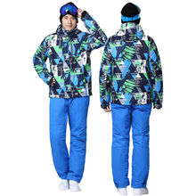 Men Waterproof Ski Suit Male Ski Jacket and Pant Windproof Warmth 30 Degree Below Zero Map Pattern