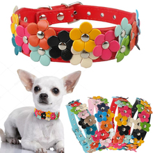4 Colors PU Leather Puppy Dog Colorful Flower Decoration Collar Two Row Cat Neck Strap  For Pets Necklace Accessories D40