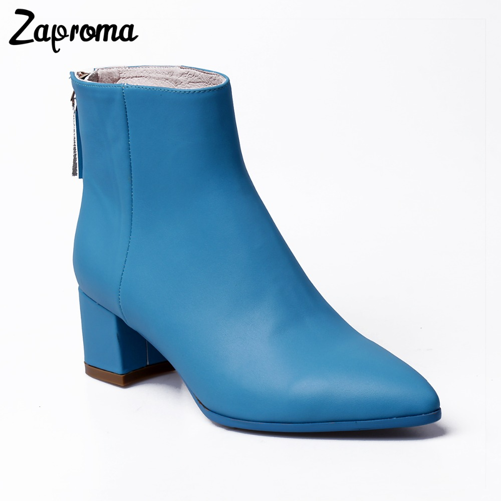 Autumn Winter Female Ankle Boots Woman Square Heel Shoes Handmade Good Quality Pigskin Boots Casual Short Boot Footwear new flat ankle boots half short boots 2015 fashion autumn winter footwear leisure quality vintage shoes woman casual boots shoes