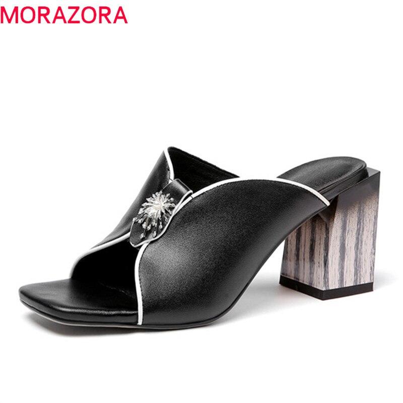 MORAZORA 2019 top kwaliteit echt leer muilezels schoenen vrouwen sandalen peep toe hoge hak partij prom schoenen vrouw slingback sandalen-in Hoge Hakken van Schoenen op  Groep 1