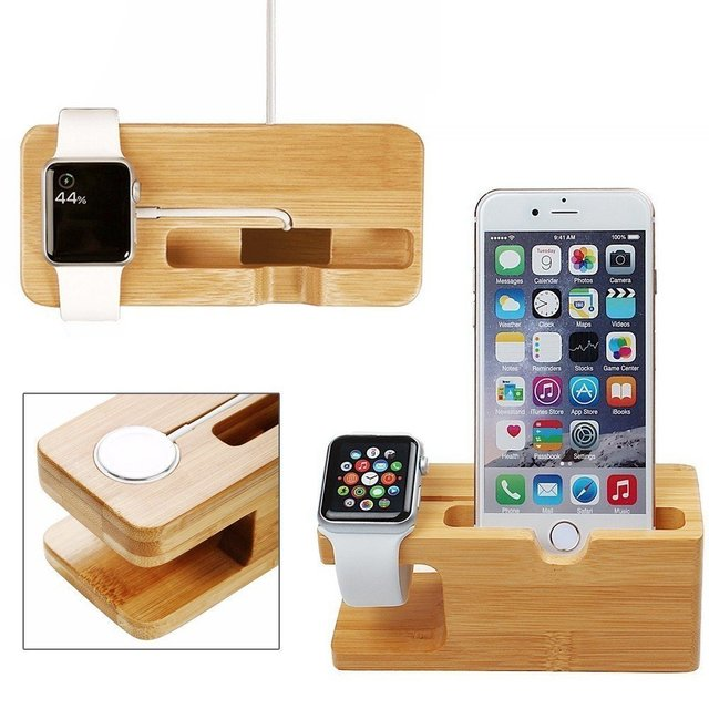 Cell Phone Charger Dock with Watch Bamboo Holder Desk Wood Charging Stand For Apple Watch 2 38mm 42mm iPhone 6 7 mobile phone