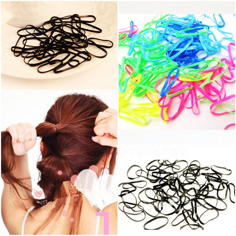 300pcs/pack Rubber Rope Ponytail Holder Hair Elastic Braids Plaits Hair Bands Ties Black Hair Accessories free shipping lnrrabc 12pcs pack elastic hair bands headband stretchy hair rope rubber bands hair accessories for accessoire cheveux