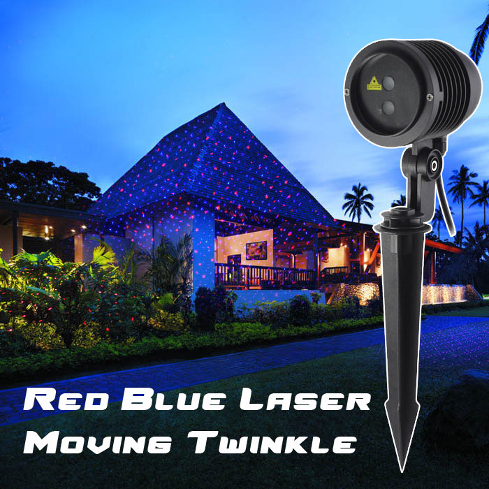 holiday outdoor christmas laser lights red blue moving twinkle christmas light projector waterproof ip65 garden landscape laser in stage lighting effect - Christmas Outdoor Projector