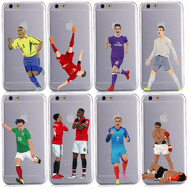 2018 Soccer Cartoon Cristiano Ronaldo messi Neymar soft silicone phone cases cover for iphone 6 6S 7 8 plus X 10 5S SE