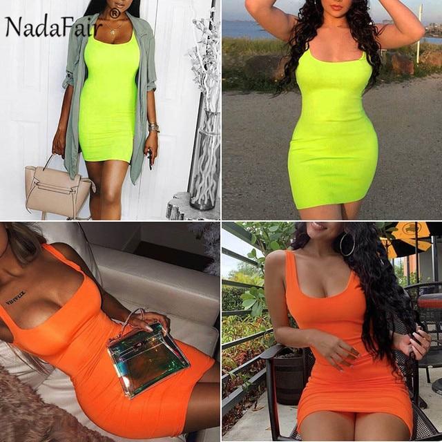 Nadafair Off Shoulder Mini Bodycon Summer Dress Women Backless Club Party Sexy Wrap Neon Dress Plus Size Vestidos 2019 5