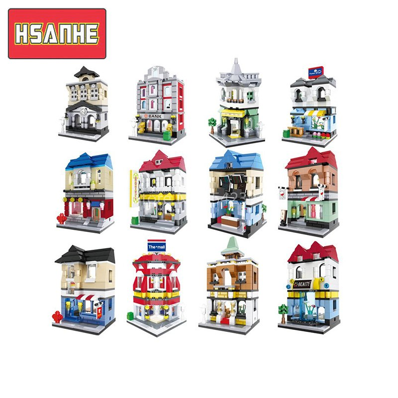 HSANHE Street Architecture Series Lepin City House Bank Model Building Kits Brick Blocks Educational Toys For Children Friends loz street view architecture building brick 303pcs