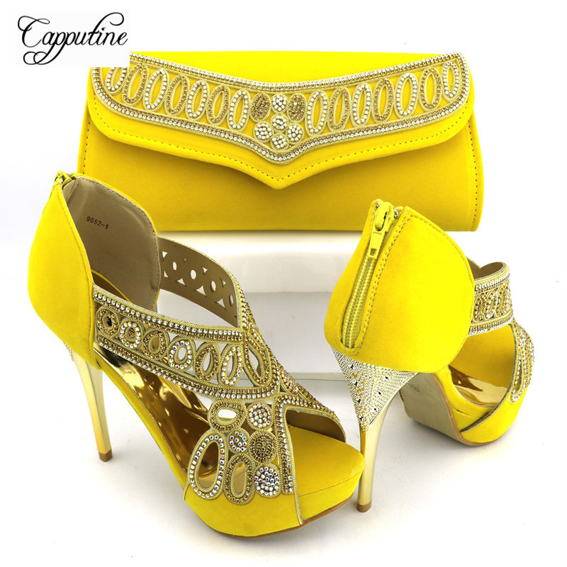 Capputine High Quality Italian Yellow Shoes With Matching Bags Set New African High Heels Shoes And Bag Sets For Wedding Dress silver color italian shoes with matching bag high quality italy shoe and bag set for wedding and party high heels shoes me1102