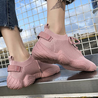 Sneakers Women Breathable Running Shoes Pink Black Lace up Knited Outdoor Sports Jogging Walking Female Sneakers 812S