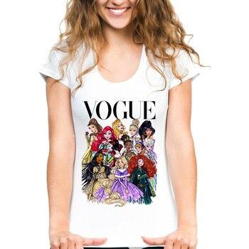 3eed6e7bc43 Женские Белые футболки VOGUE панк Принцесса Королева печатные летние фитнес  мультфильм короткий рукав футболки для девочек