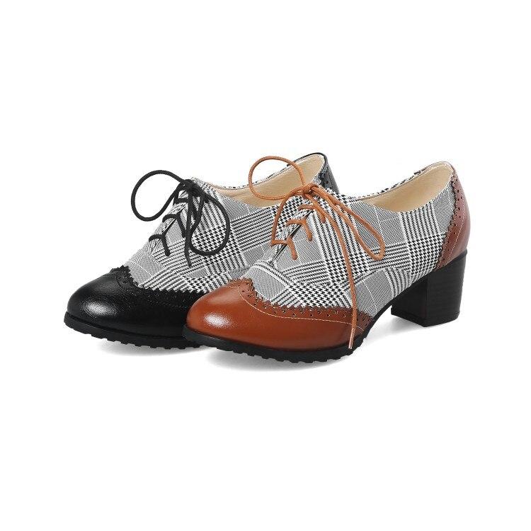 Pie Zapatos Mujer Dedo Cruzado Atado Xianyiduo otoño Talones Bombas Del Ocio Señoras Hasta 48 s Más Med Negro Size34 De Cuadrados Colorblock amarillo Primavera 5 wIwq8tC