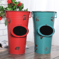 Europe Style Pure handicraft Wrought Iron Flower Tub drum Bar Decoration Photography Props