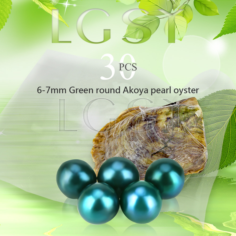 Bead wholesale Green pearls 30pcs vacuum-packed oysters with 6-7mm round akoya pearls, UPS free shipping cluci free shipping get 40 pearls from 20pcs 6 7mm aaa blue round akoya oysters twins pearls in one oysters