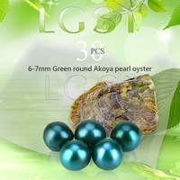 Wholesale Green Pearls 30pcs Vacuum Packed Oysters With 6 7mm Round Akoya Pearls