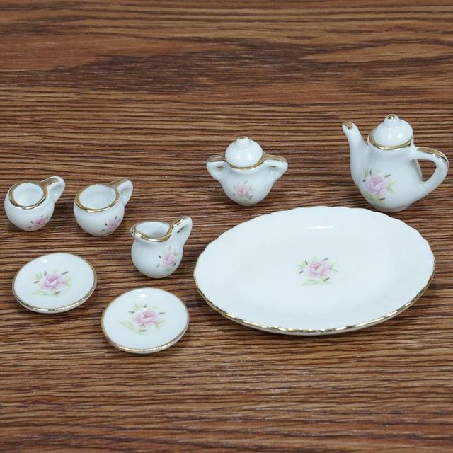 1:12 Miniature Chinese Ceramic Teapot Set For Doll House