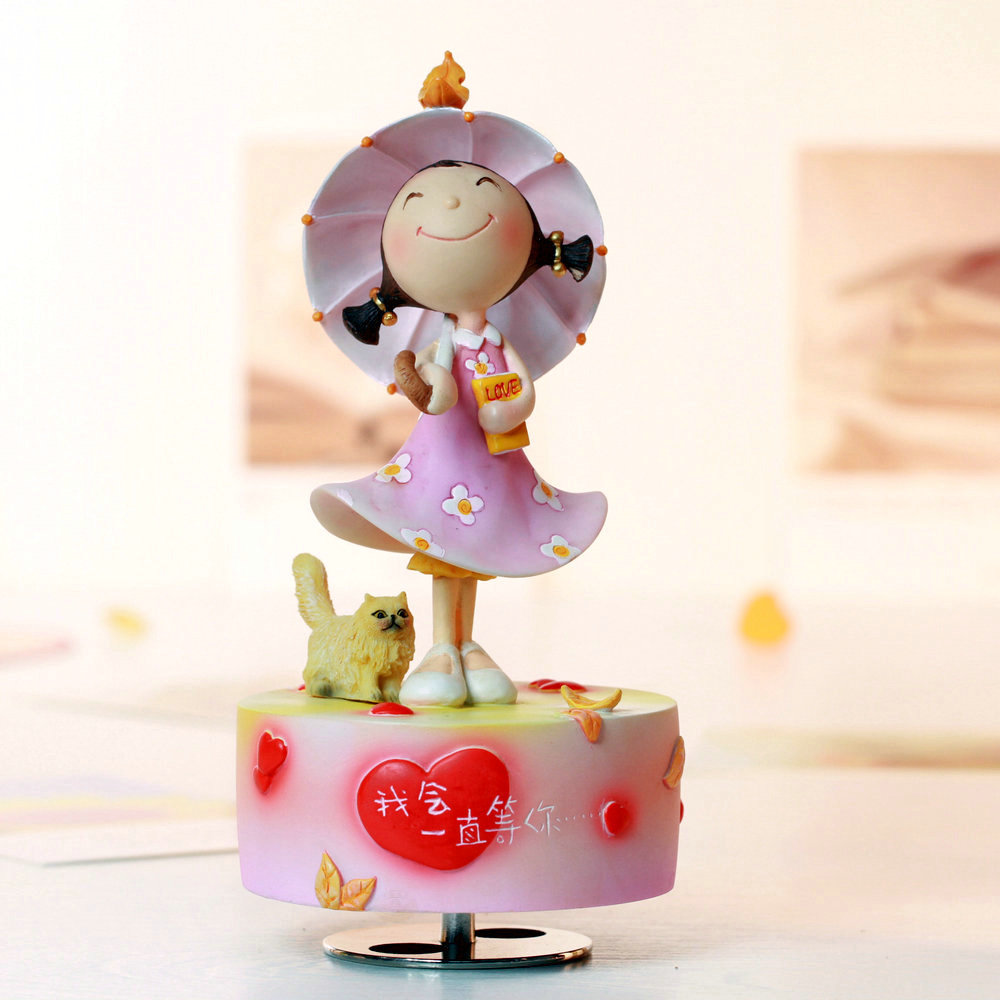 Rotating music box birthday gift girlfriend gifts for wedding and Christmas in home decoration free shipping