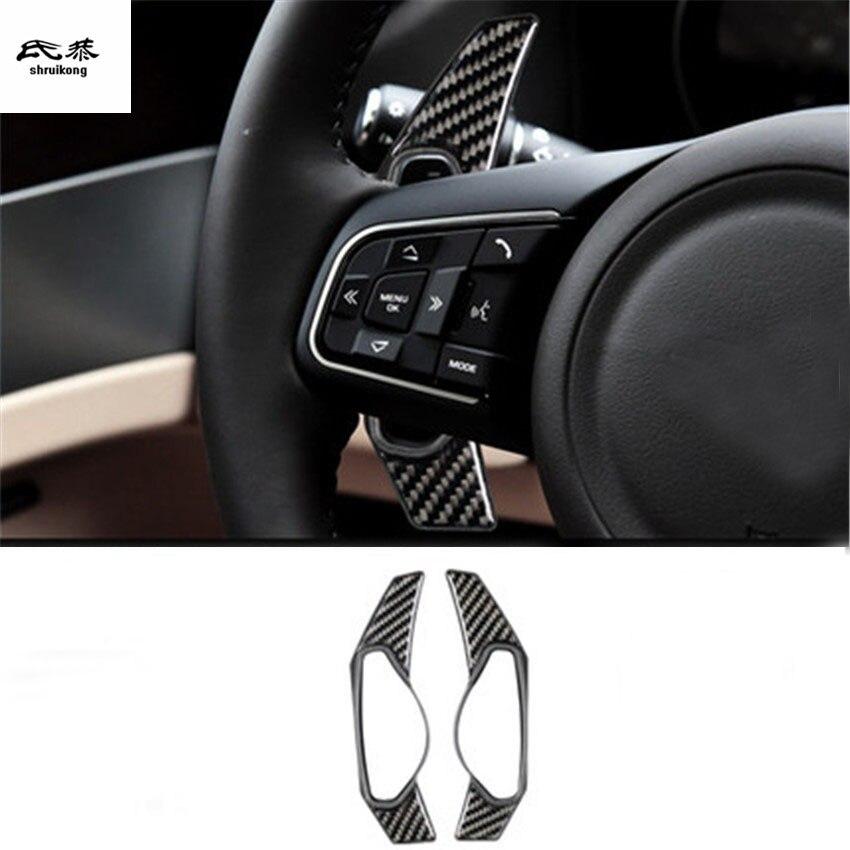 2 pcs/lot autocollant voiture colle époxy fiber de carbone grain roue changement de roue palette manette de vitesse housse d'extension pour Jaguar XEL XFL F-PACE