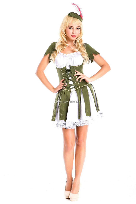 Fee Kostuum Dames.Us 34 35 Sexy Robin Hood Peter Pan Voor Outfit Halloween Medival Kostuum Dames Groene Fee Elf Carnaval Party Fancy Dress In Sexy Robin Hood Peter