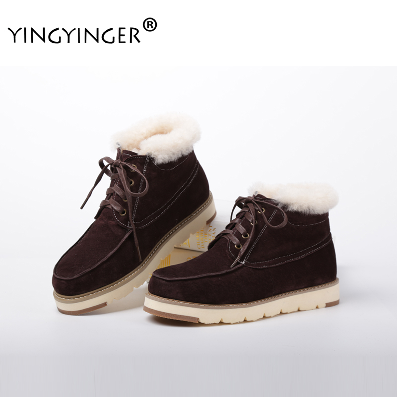 YINGYINGER Men's Sheepskin Boots Australian Fur Winter Warm Ankle Boots Male Casual Flat Plush Shoes Custom Warm Shearling Boots